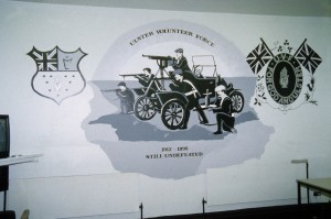 UVF mural, depicting motorized division of UVF, 1914
