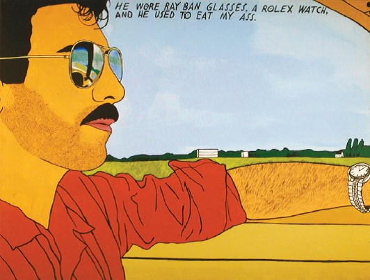 Joey Terrill, He Wore Ray Ban Glasses, a Rolex Watch, and He Used to Eat My Ass, acrylic on canvas, 1985