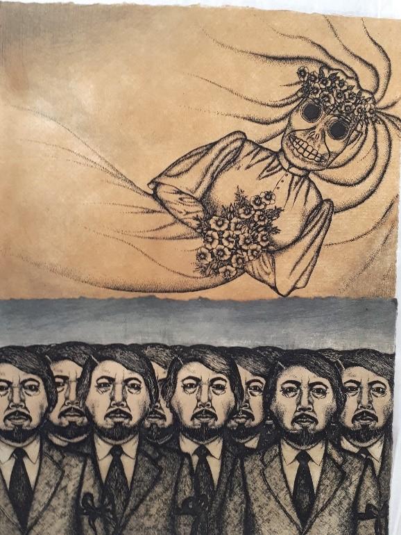 Nahum Zenil, El Espectro, engraving, 1994
